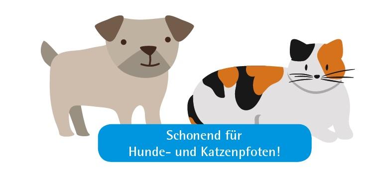 Schonend für Hunde- und Katzenpfoten